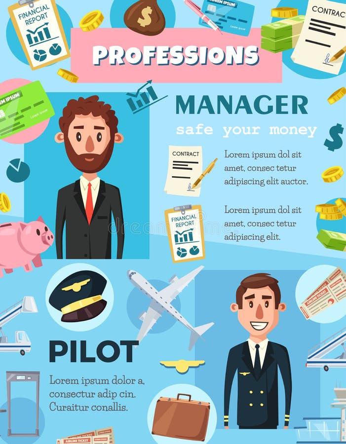 Bedrijfsleider en luchtvaart proefberoepen royalty-vrije illustratie