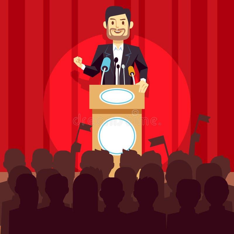 Bedrijfsleidings vectorconcept met sprekerszakenman, politicus op het podium stock illustratie