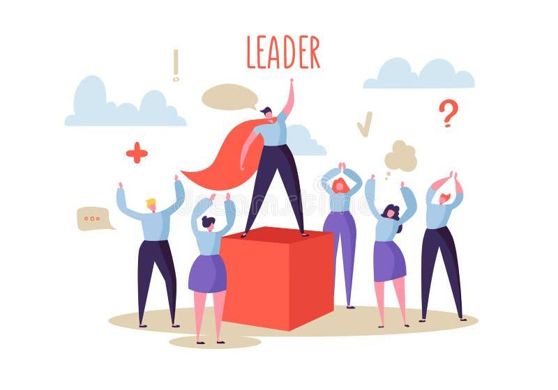 Bedrijfsleidingsconcept Managerleider Leading Group van Vlakke Karaktersmensen aan het Succes Bedrijfs motivatie vector illustratie