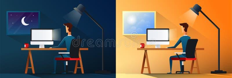 Bedrijfsleven of de arbeider van het ontwerperwerkverslaafde in de vectorillustratie van de bureau dag en nacht scène royalty-vrije illustratie