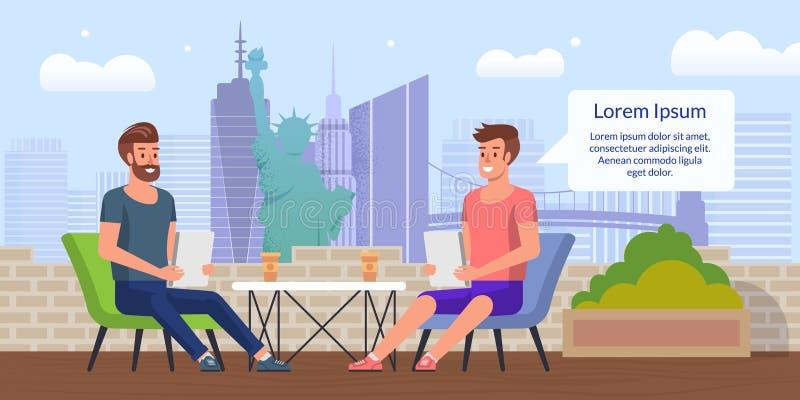 Bedrijfslunch in het Vlakke Vectorconcept van de Stadskoffie vector illustratie