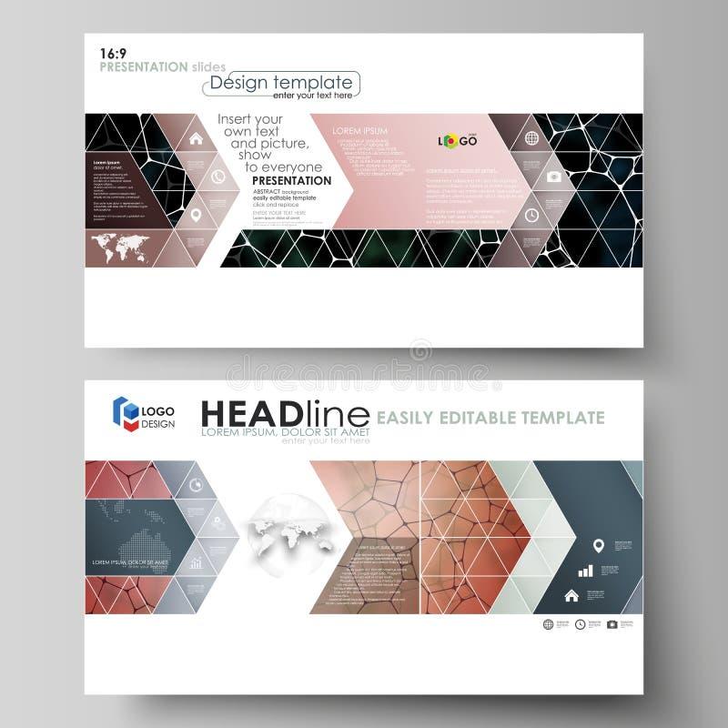 Bedrijfsmalplaatjes in HD-formaat voor presentatiedia's Vectorontwerplay-outs Chemiepatroon, moleculaire textuur royalty-vrije illustratie
