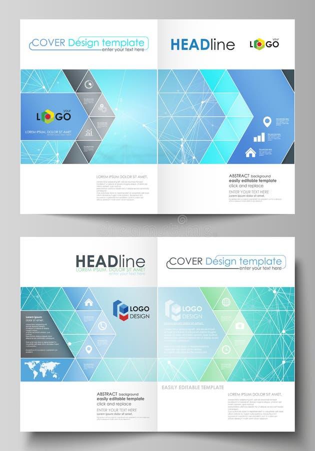 Bedrijfsmalplaatjes voor bi-vouwenbrochure, vlieger Het malplaatje van het dekkingsontwerp, vectorlay-outs, A4 grootte Chemiepatr vector illustratie