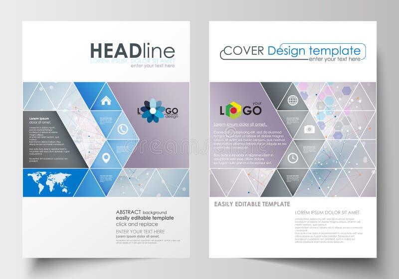 Bedrijfsmalplaatjes voor brochure, tijdschrift, vlieger, boekje Het malplaatje van het dekkingsontwerp, vat vlakke lay-out in A4  vector illustratie