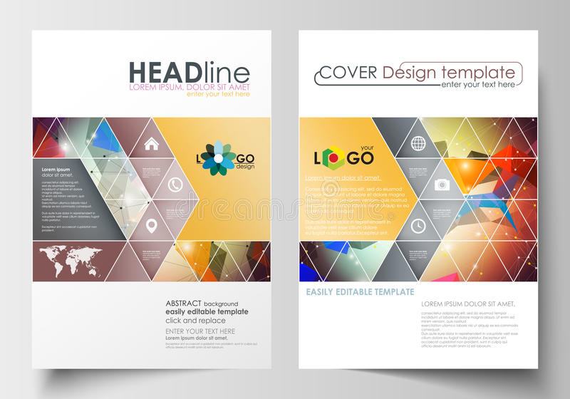 Bedrijfsmalplaatjes voor brochure, tijdschrift, vlieger, boekje of jaarverslag Dekkingsmalplaatje, vlakke lay-out in A4 grootte royalty-vrije illustratie