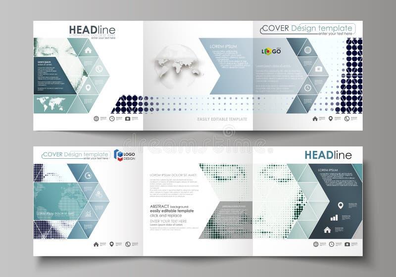 Bedrijfsmalplaatjes voor brochures van het trifold de vierkante ontwerp Pamfletdekking, vectorlay-out Halftone gestippelde retro  vector illustratie