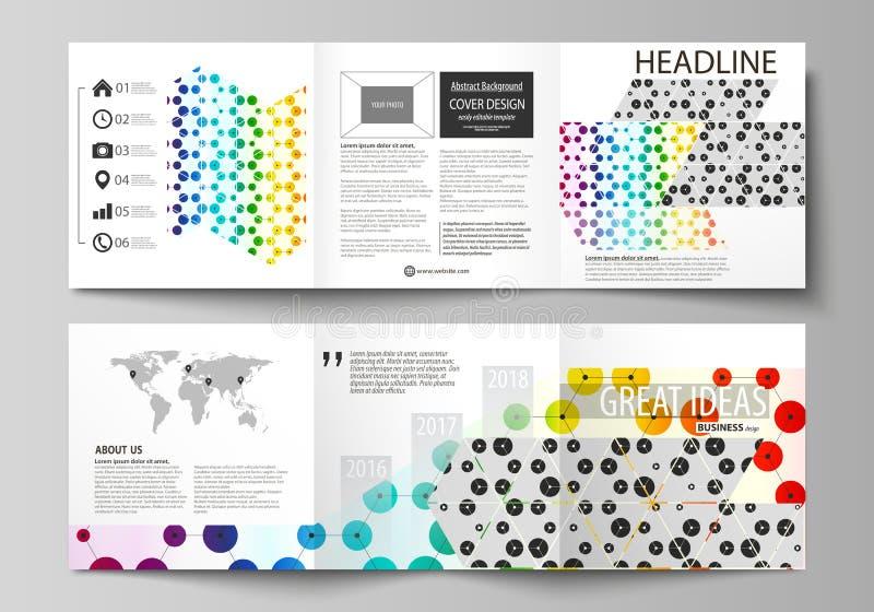 Bedrijfsmalplaatjes voor trifold vierkante brochures Pamfletdekking, abstracte vectorlay-out Hexagonaal chemiepatroon, vector illustratie