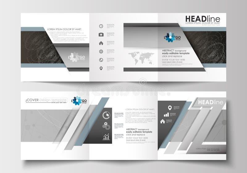 Bedrijfsmalplaatjes voor trifoldbrochures Vierkant ontwerp Pamfletdekking, gemakkelijke editable vlakke lay-out Abstracte 3d royalty-vrije illustratie