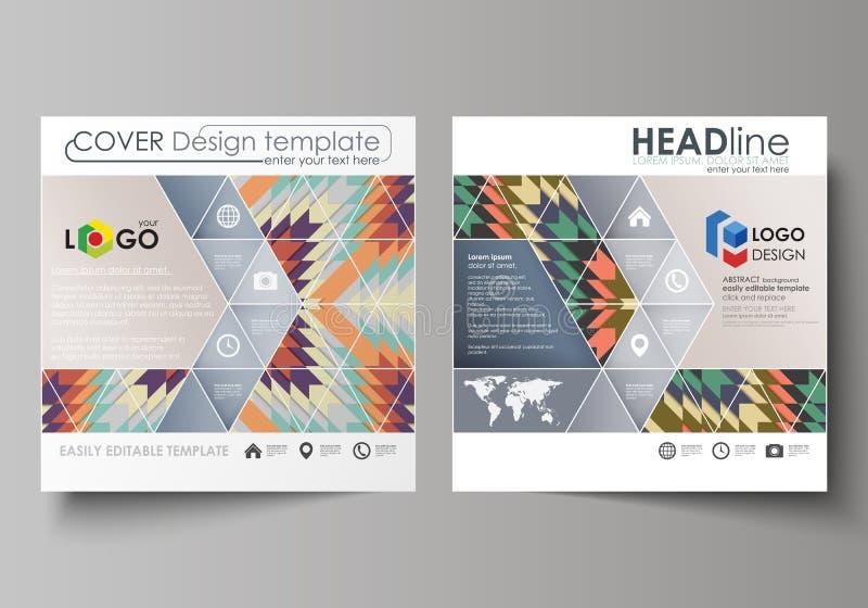 Bedrijfsmalplaatjes voor vierkante ontwerpbrochure, tijdschrift, vlieger, boekje Pamfletdekking, abstracte vectorlay-out stammen vector illustratie