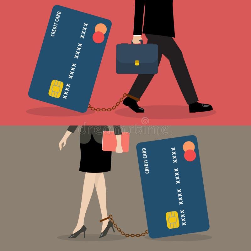 Bedrijfsman en bedrijfsvrouw met creditcardlast stock illustratie
