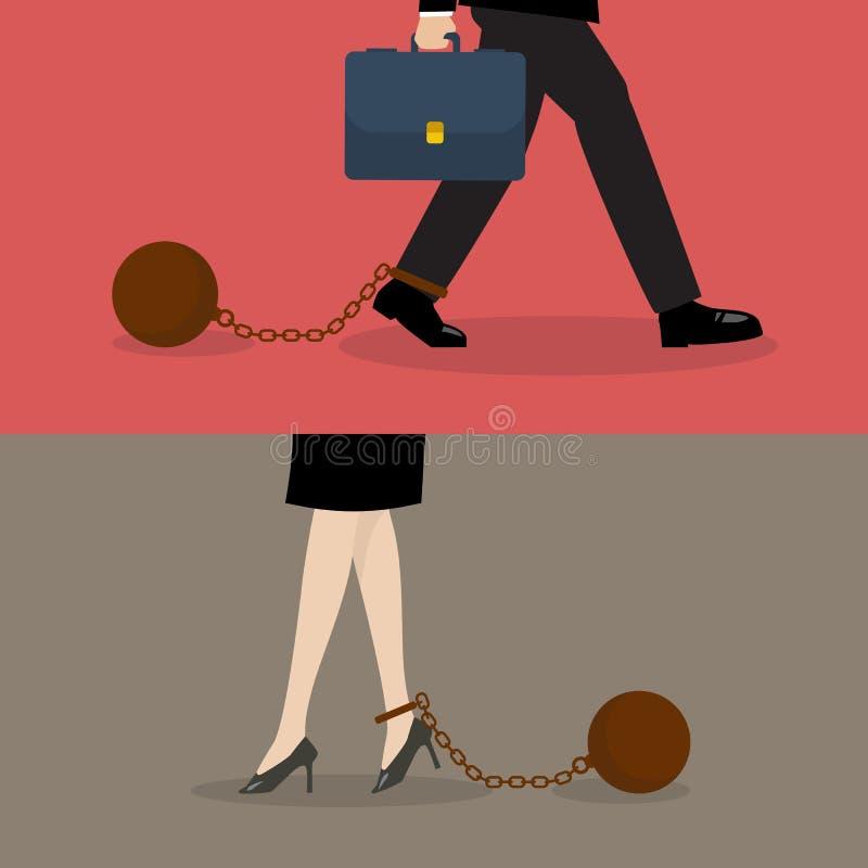 Bedrijfsman en bedrijfsvrouw met gewichtslast stock illustratie