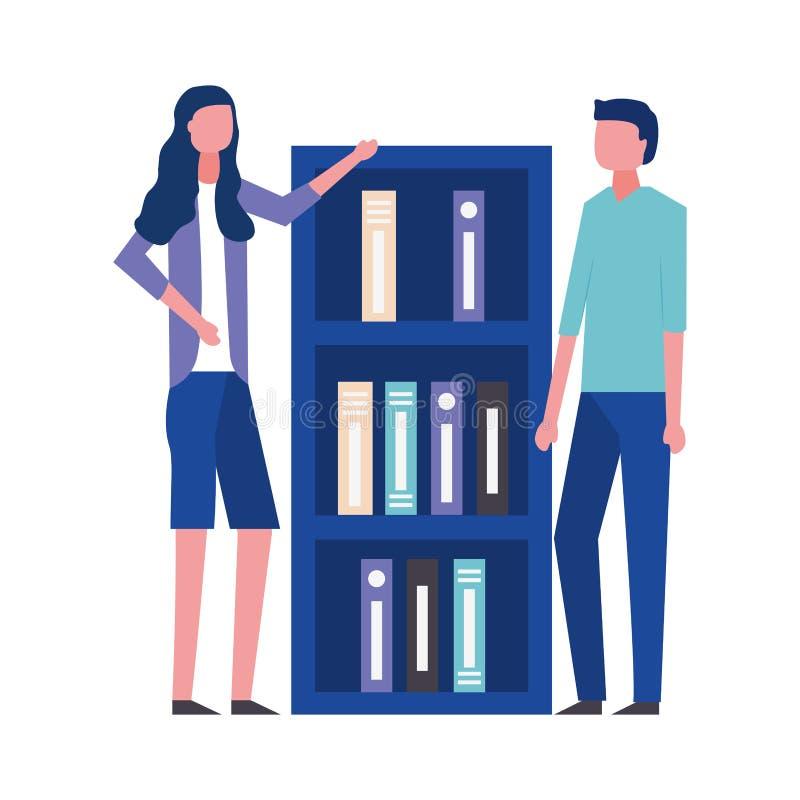 Bedrijfsman en vrouwenbureauboekenrek stock illustratie