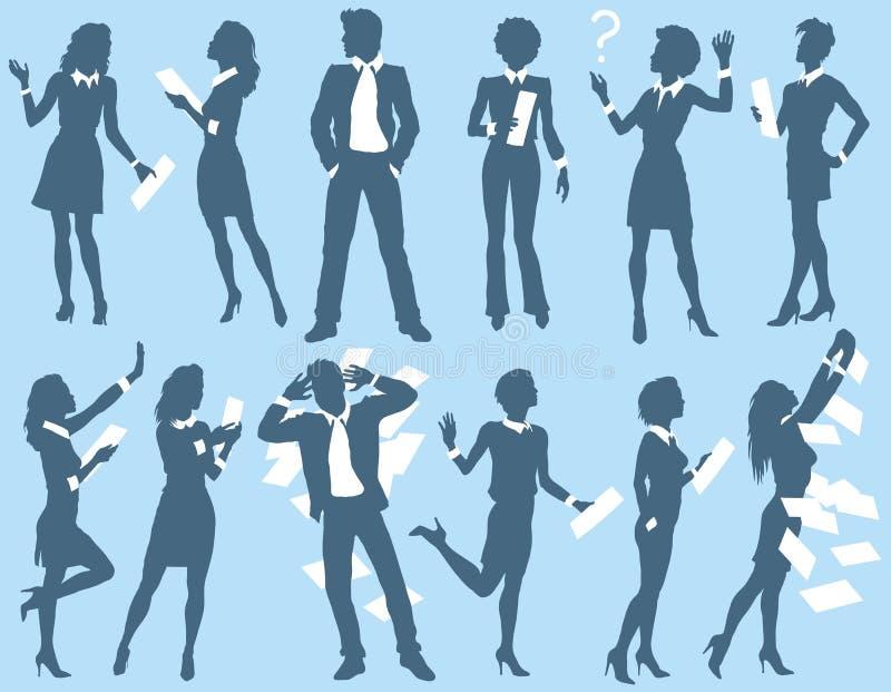 Bedrijfsman en vrouwensilhouetten vector illustratie