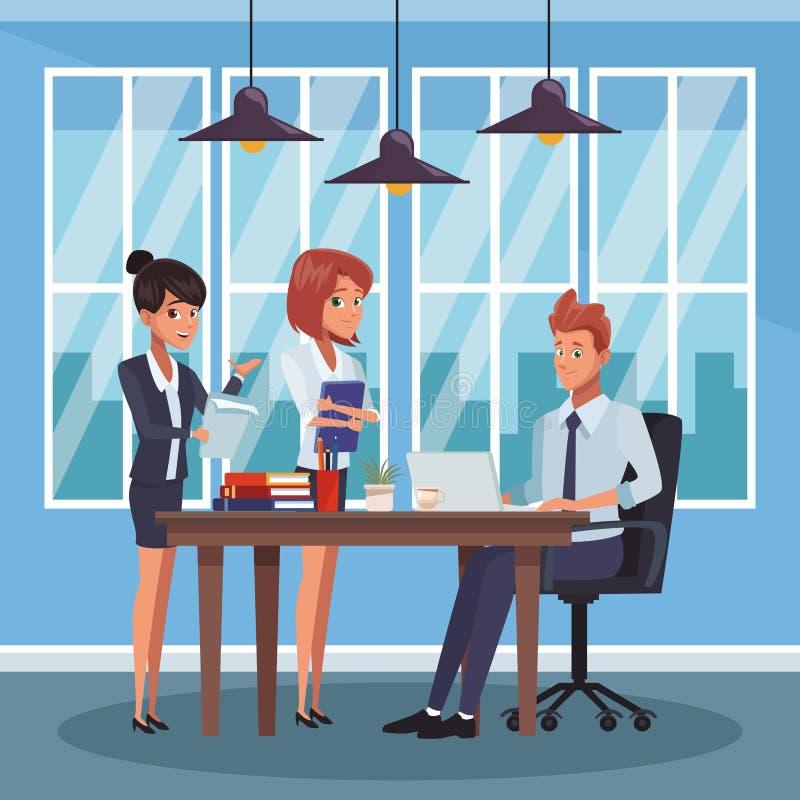 Bedrijfsmedewerkers op kantoor stock illustratie