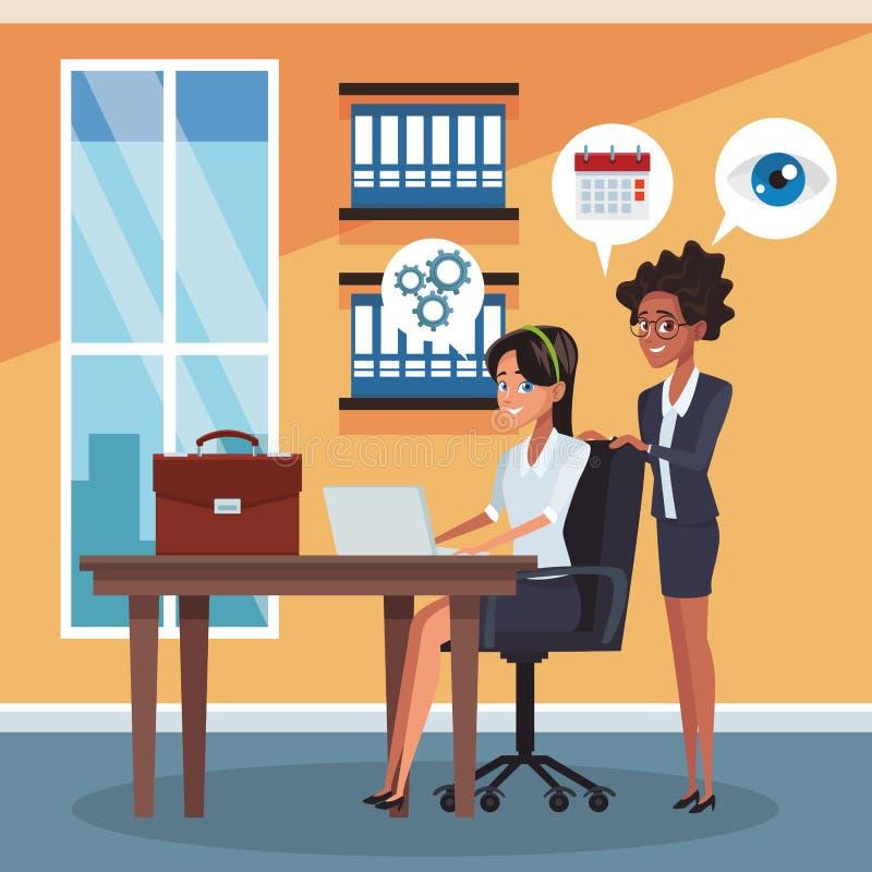 Bedrijfsmedewerkers op kantoor vector illustratie