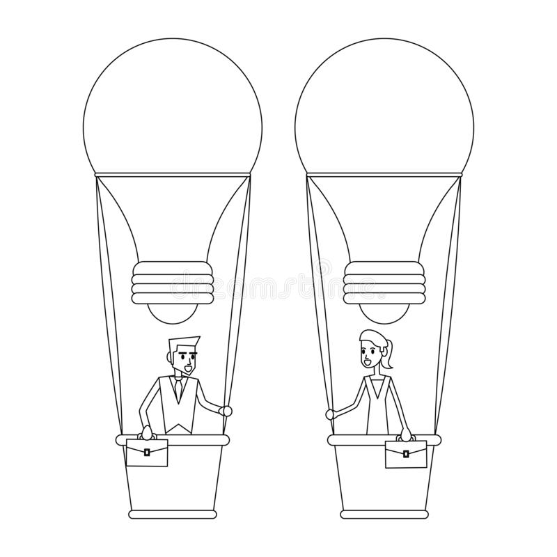 Bedrijfsmedewerkersconcept in zwart-wit stock illustratie