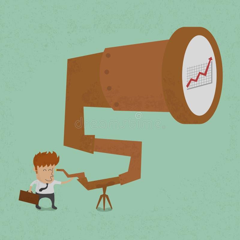 Bedrijfsmens die aan succes kijken vector illustratie