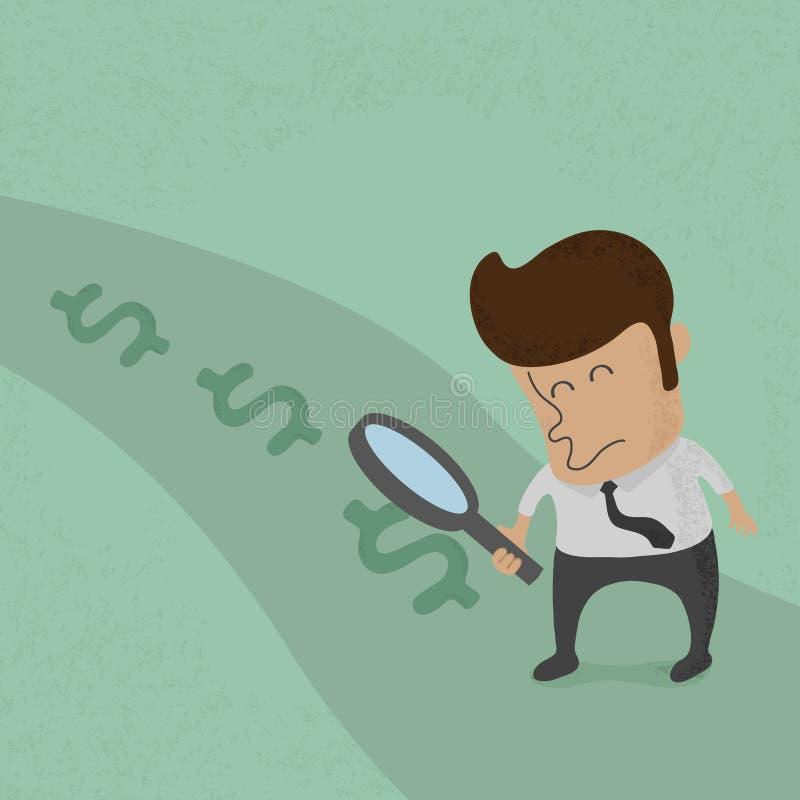 Bedrijfsmens die aan succes kijken royalty-vrije illustratie