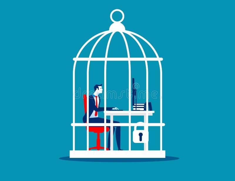 Bedrijfsmens die bij bureau opgesloten binnenbirdcage werken Concepten bedrijfs vectorillustratie stock illustratie