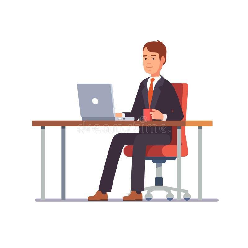 Bedrijfsmens die bij zijn bureau werkt vector illustratie