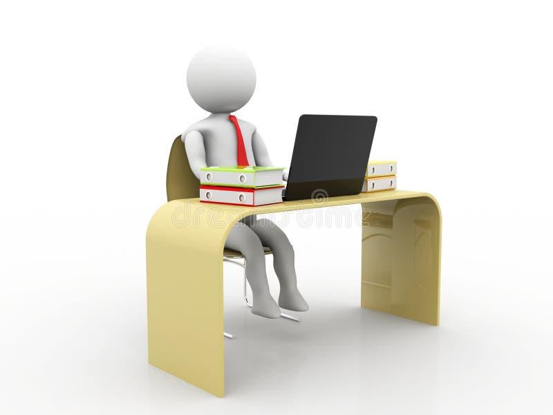 Bedrijfsmens die in Bureau met Laptop en Omslagen werken 3d geef terug royalty-vrije illustratie