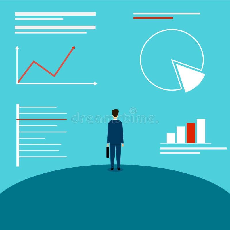 Bedrijfsmens die de grafiek bekijken De analyse van de markt Uit te gaan businessplan Duif als symbool van liefde, pease vector illustratie