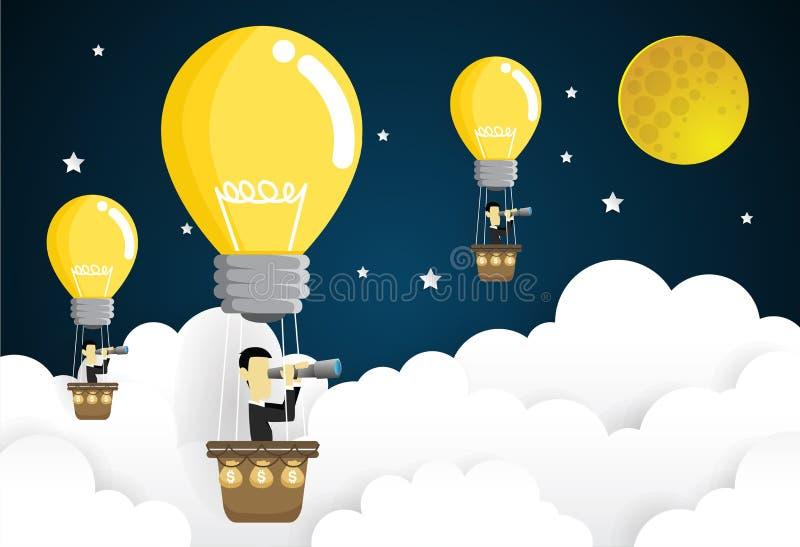 Bedrijfsmens die in de hemel op hete luchtballon vliegen die door kijker kijken Het concept van het idee vector illustratie