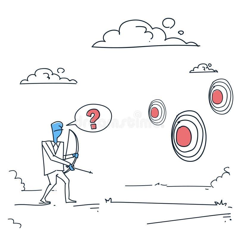 Bedrijfsmens die Doel met Boogzakenman Making Decision Concept kiezen Te streven stock illustratie