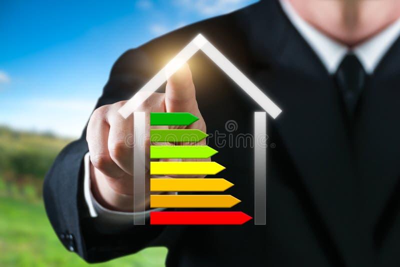 Bedrijfsmens die een energiek huis tonen Besparingsenergie en milieuconcept royalty-vrije stock foto