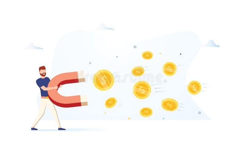 Bedrijfsmens die een grote magneet houden en geld aantrekken Het concept van de investeringsaantrekkelijkheid Moderne vectorillus vector illustratie