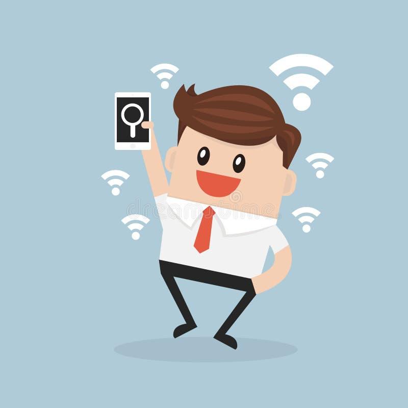 Bedrijfsmens die een Internet-verbinding zoeken om zijn zaken te steunen stock illustratie