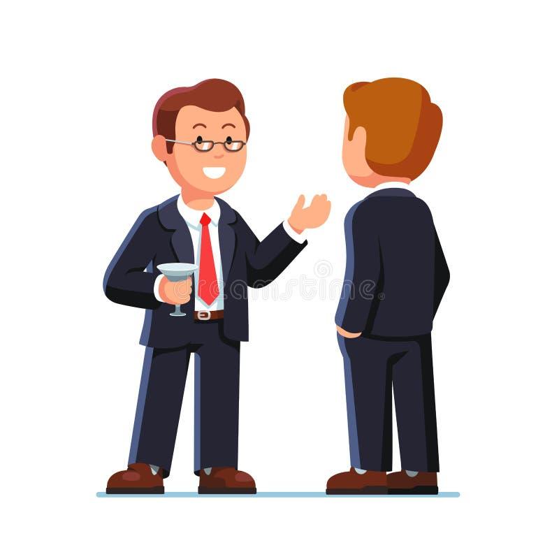 Bedrijfsmens die en bij partij spreken drinken vector illustratie