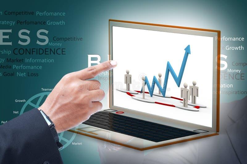 Bedrijfsmens die financiële grafiek tonen royalty-vrije stock afbeelding