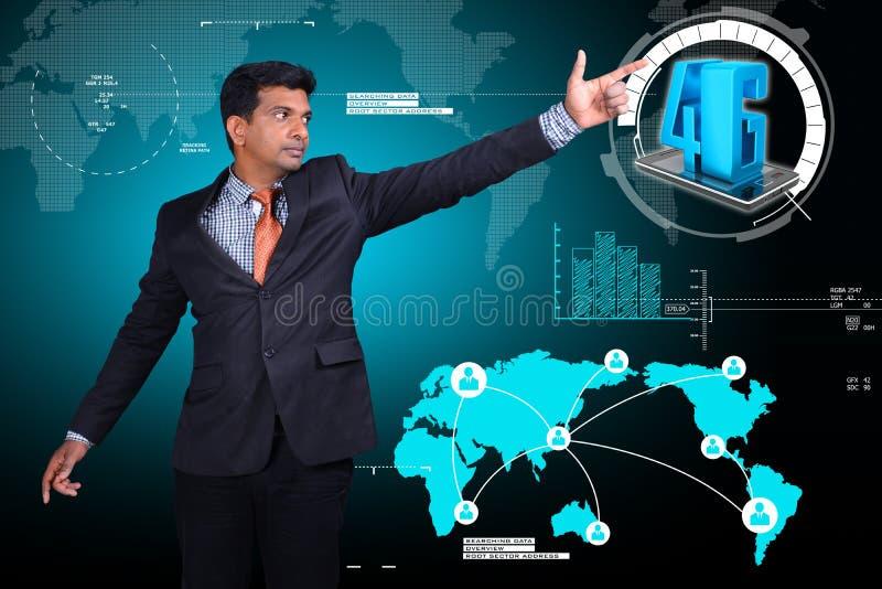 Bedrijfsmens die 4G technologie tonen stock illustratie