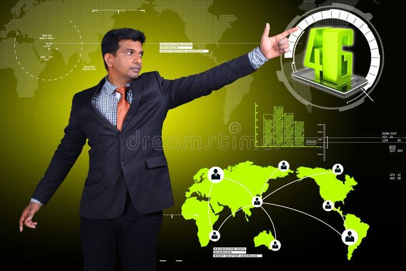 Bedrijfsmens die 4G technologie tonen vector illustratie