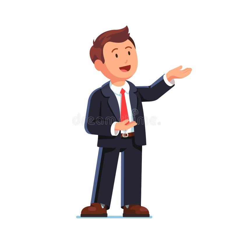 Bedrijfsmens die gebaar met beide handen voorstellen vector illustratie