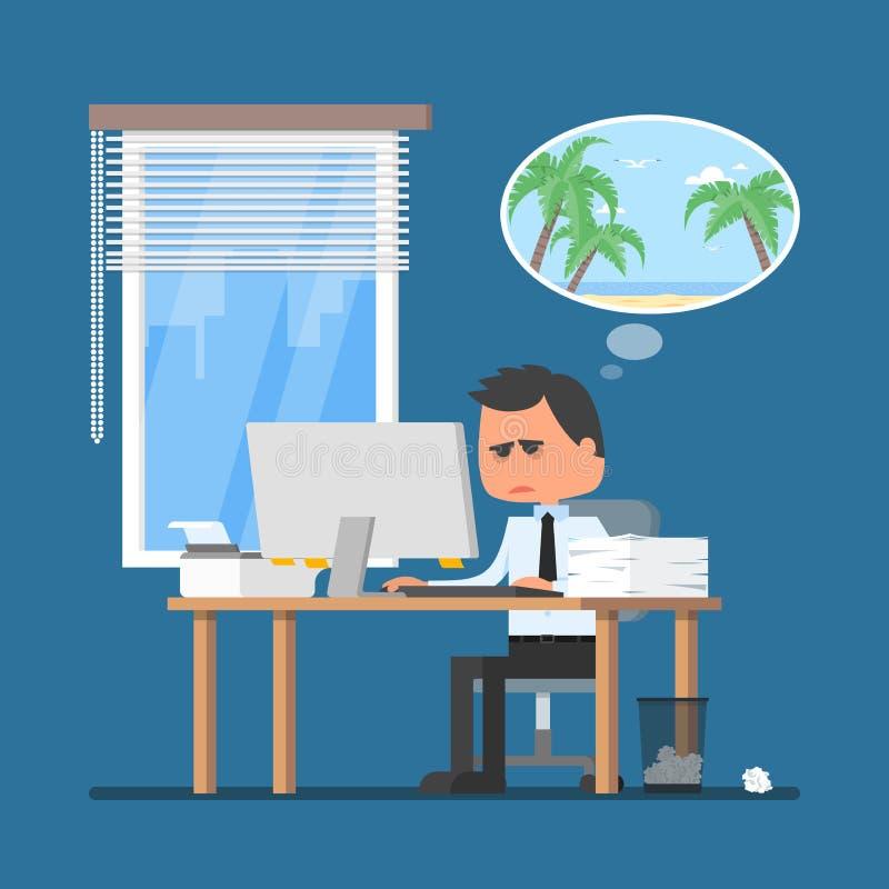 Bedrijfsmens die hard en over vakantie op een strand dromen werken Vectorillustratie in vlakke beeldverhaalstijl royalty-vrije illustratie