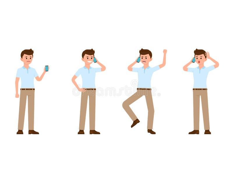 Bedrijfsmens die het karakter van het smartphonebeeldverhaal gebruiken Vectorillustratie van droevig, gelukkig, boos, verrast tel stock illustratie