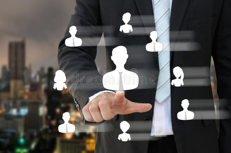 Bedrijfsmens die mensenpictogram van personeel richten royalty-vrije stock foto