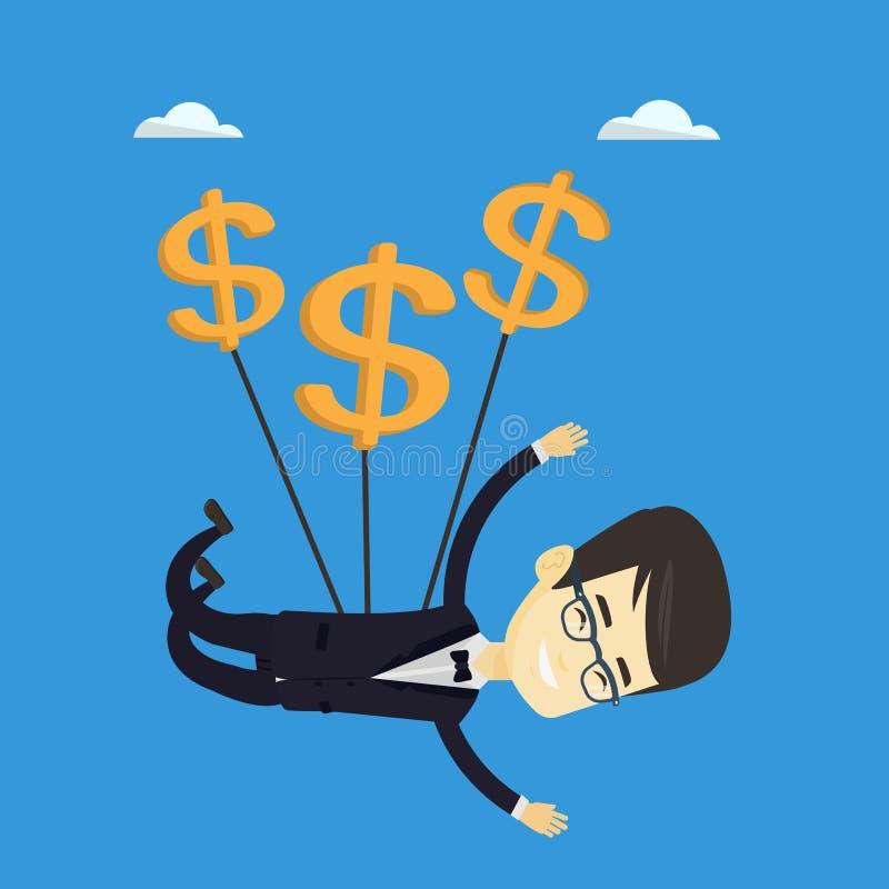Bedrijfsmens die met dollartekens vliegen vector illustratie