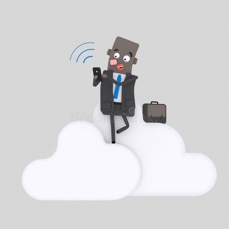 Bedrijfsmens die met zijn smartphone aan wolken werken 3d royalty-vrije illustratie