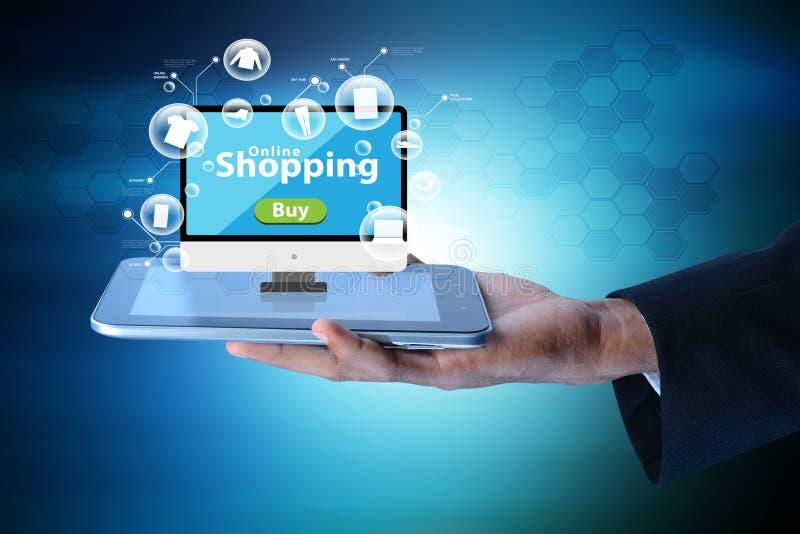 Bedrijfsmens die Online het winkelen concept tonen stock illustratie