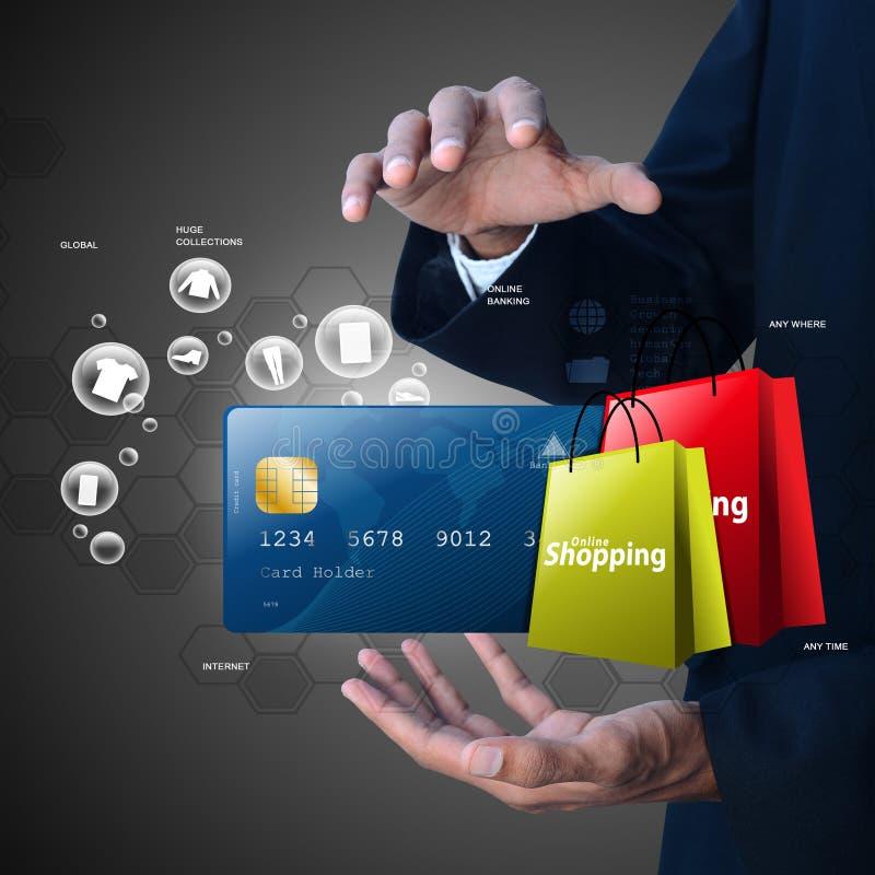 Bedrijfsmens die Online het winkelen concept tonen royalty-vrije illustratie