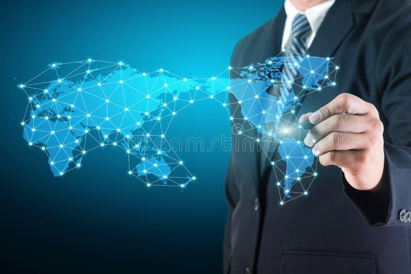 Bedrijfsmens die sociale netwerkverbinding trekken royalty-vrije illustratie