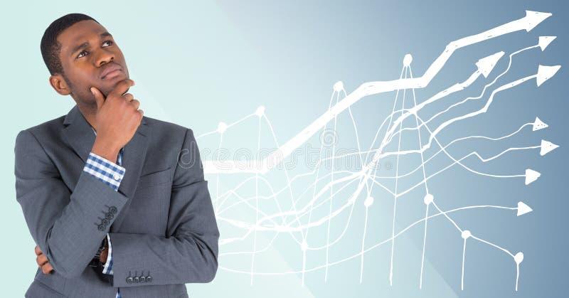 Bedrijfsmens die tegen blauwe achtergrond met witte grafiek denken royalty-vrije stock foto's