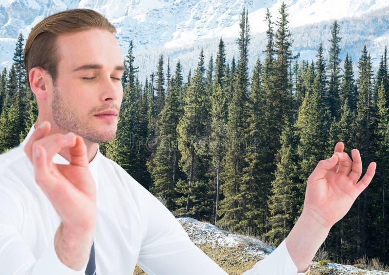 Bedrijfsmens die tegen bomen en sneeuwberg mediteren stock fotografie