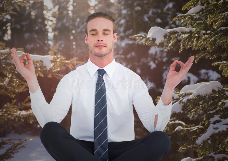 Bedrijfsmens die tegen sneeuwbomen mediteren stock afbeelding