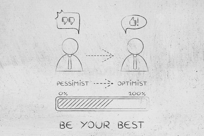 Bedrijfsmens die van pessimist naar optimist gaan stock foto