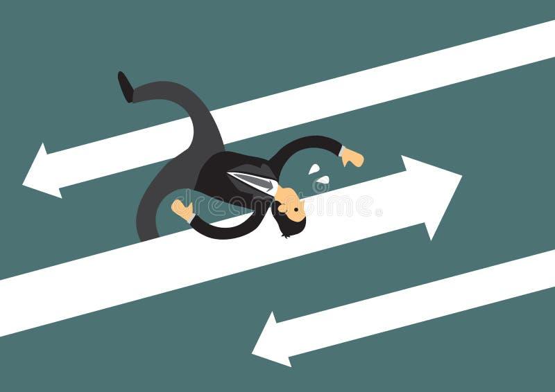 Bedrijfsmens die vanaf pijlaanvallen loopt Bedrijfsconcept het overwinnen van hindernissen en uitdagingen in de collectieve werel vector illustratie
