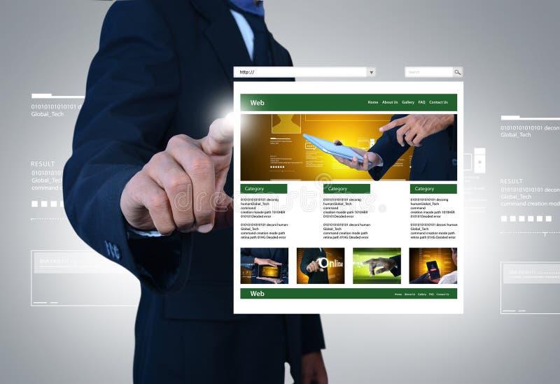 Bedrijfsmens die Web-pagina tonen stock illustratie